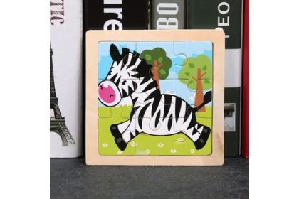 {READY STOCK} Kids Wooden Giraffe/Whale/Crab/Panda/Elepahnt Jigsaw Puzzle Early Education 9粒小拼图儿童益智交通工具动物昆虫动手动脑拼板木质玩具