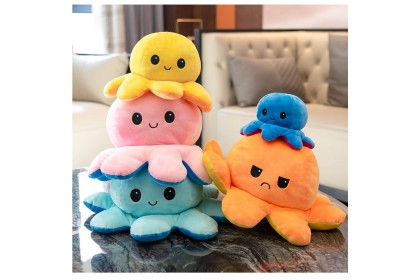 Ready Stock Octopus Stuffed Toy Octopus Plush TikTok Viral Reversible Double Sided Bipolar Plushie Gifts for Kids